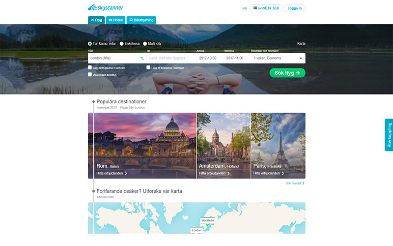 Skyscanner search engine